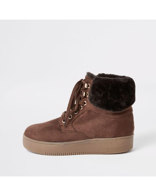 River Island - Brown Lace-up Faux Fur Trims Boots - Lyst