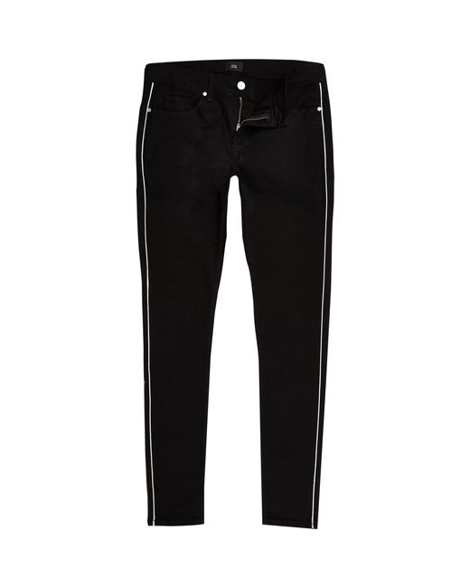 River Island - Black Ollie Skinny Spray On Piped Jeans for Men - Lyst