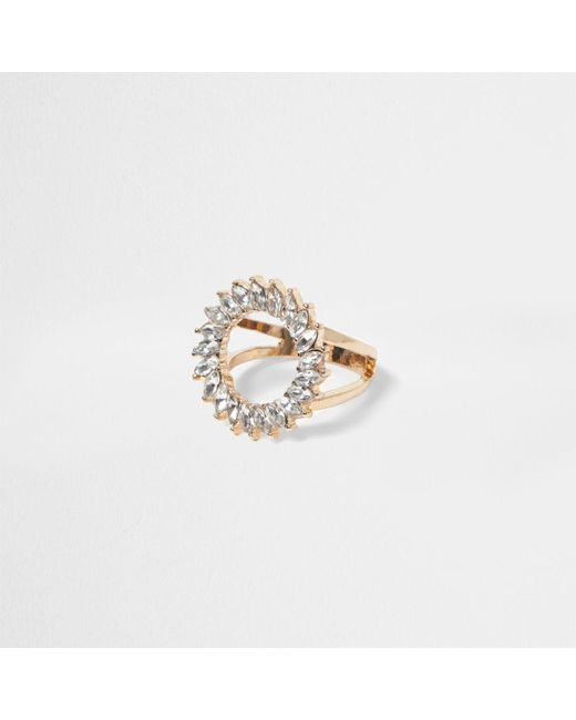 River Island | Metallic Gold Tone Diamante Circle Ring | Lyst
