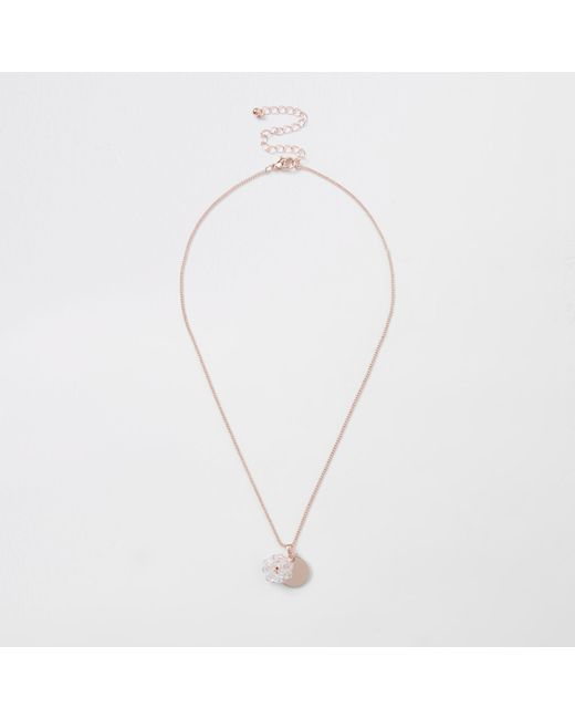 River Island - Metallic Rose Gold Faceted Coin And Bead Necklace - Lyst
