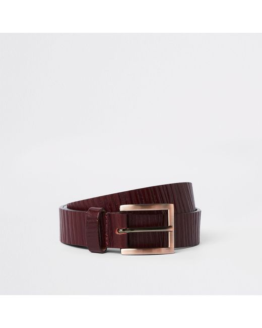 River Island - Dark Red Textured Leather Belt for Men - Lyst