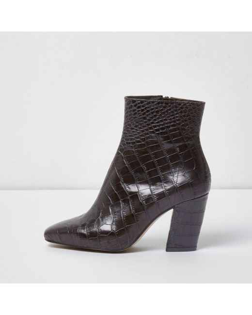 river island brown croc leather block heel boots in