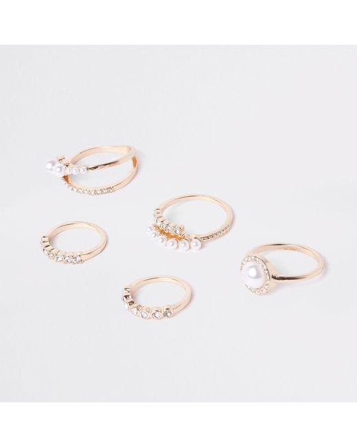 River Island - Metallic Tone Pearl Ring Pack - Lyst