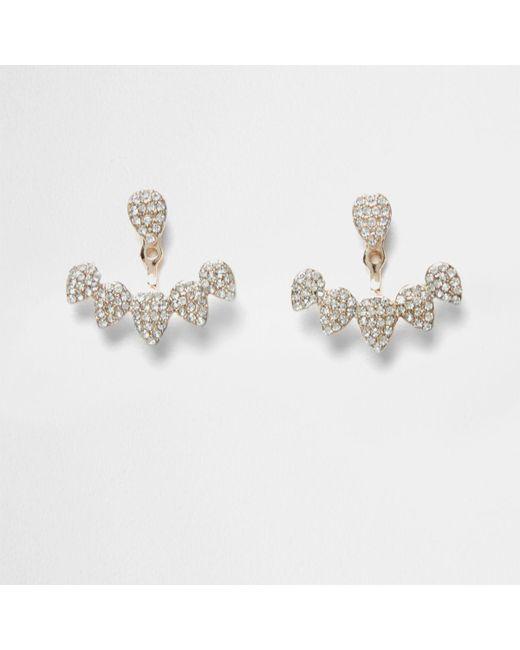 River Island | Metallic Diamante Encrusted Teardrop Stud Earrings Diamante Encrusted Teardrop Stud Earrings | Lyst