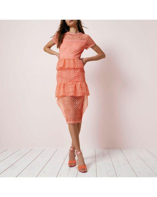 River Island | Pink Coral Lace Tiered Frill Midi Dress | Lyst