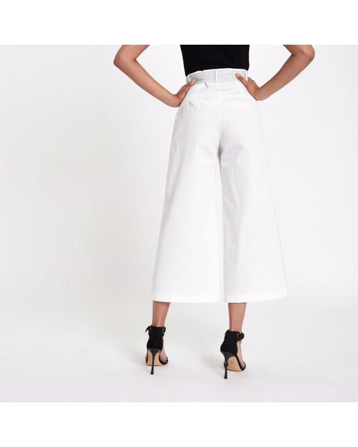Geniue Stockist For Sale Clearance Clearance Store Womens White contrast stitch belted culottes River Island Order Cheap Sale Clearance Store Really Online eeMKWiVSkh