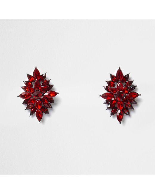 River Island | Red Leaf Jewel Stud Earrings | Lyst