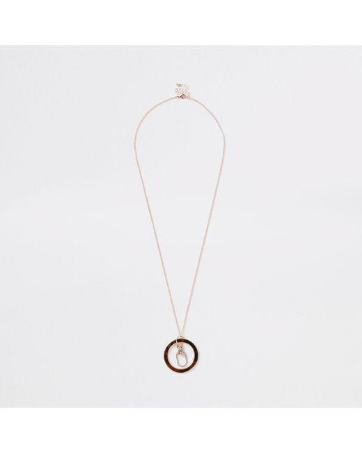 River Island - Metallic Tone Tortoise Shell Circle Necklace - Lyst