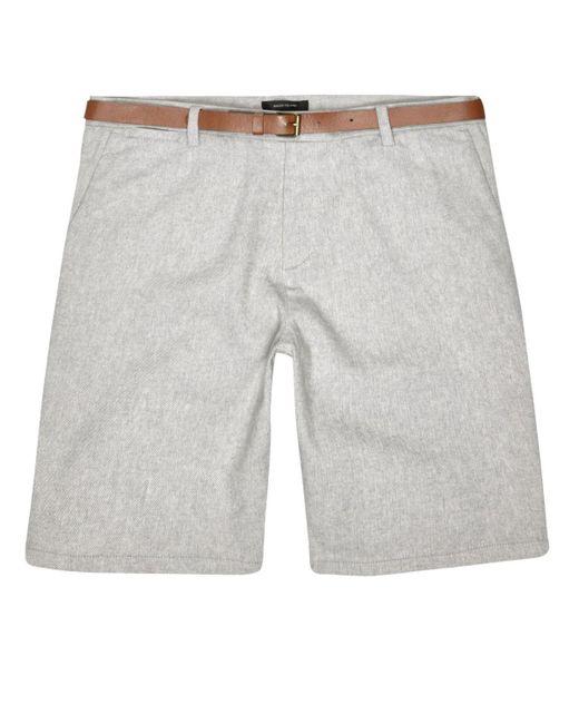River Island   White Grey Slim Fit Belted Bermuda Shorts for Men   Lyst