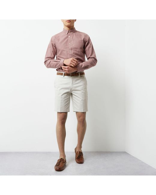 River Island - Natural Cream Belted Chino Shorts for Men - Lyst