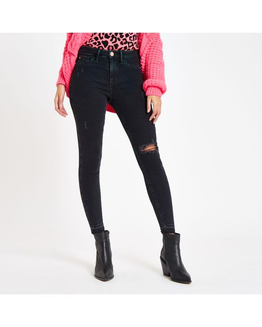 babd7457b3166 ... River Island - Black Super Skinny Ripped Molly jeggings - Lyst
