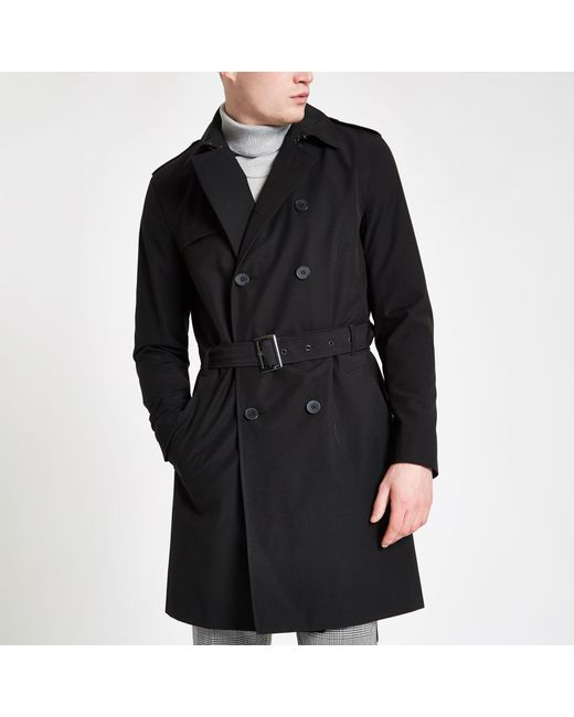0ccce62ca9b River Island - Black Double Breasted Belted Trench Coat for Men - Lyst ...