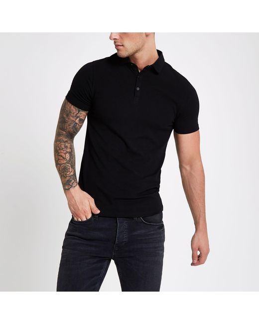 River Island - Black Essential Muscle Fit Polo Shirt for Men - Lyst