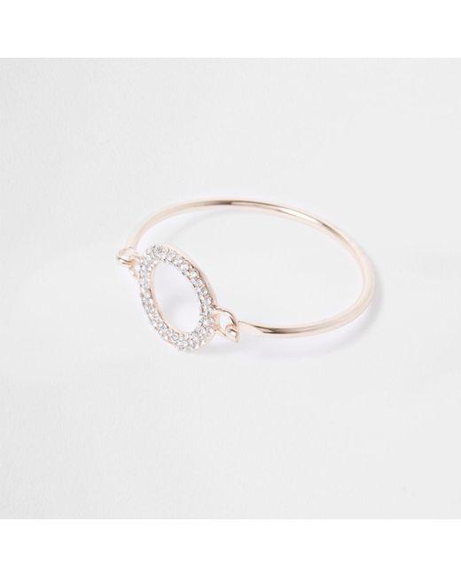 River Island | Pink Rose Gold Tone Diamante Pave Circle Bracelet Rose Gold Tone Diamante Pave Circle Bracelet | Lyst