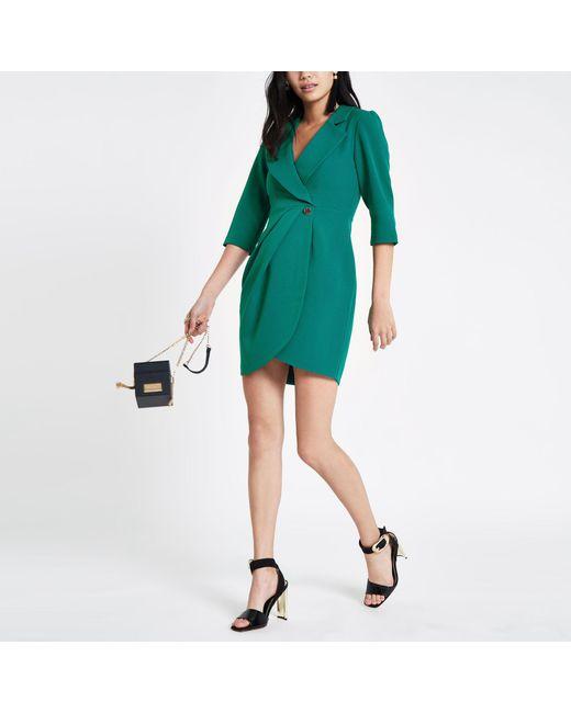 River Island - Dark Green Bodycon Wrap Tux Mini Dress - Lyst