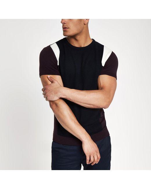 River Island - Dark Red Knit Block Print Slim Fit T-shirt for Men - Lyst