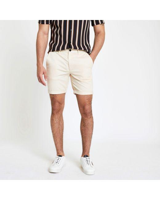 c423e63aeb River Island - Natural Skinny Chino Shorts for Men - Lyst ...