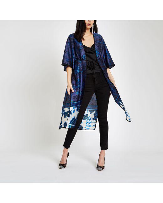 River Island - Blue Floral Tie Front Kimono - Lyst