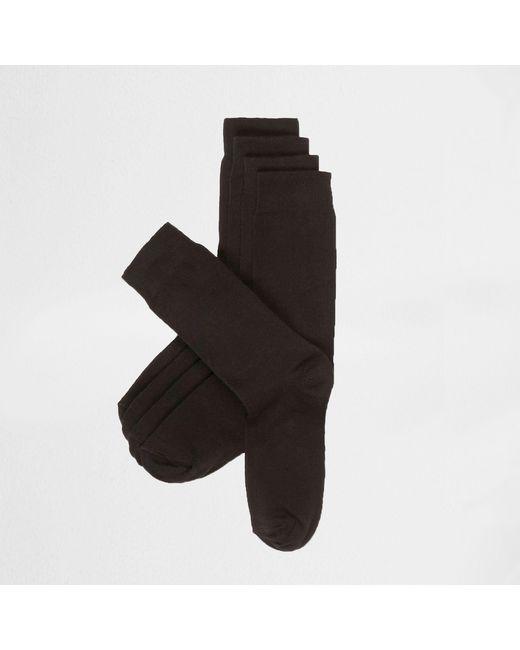 River Island - Black Plain Socks 5 Pack for Men - Lyst