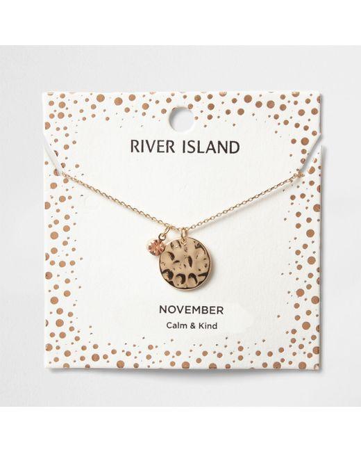 River Island - Orange Gem November Birthstone Necklace - Lyst
