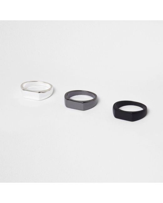 River Island | Black Ring Multipack | Lyst