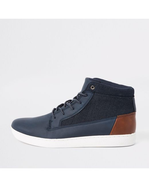 River Island Blue Navy Denim Mid Top Trainers for men