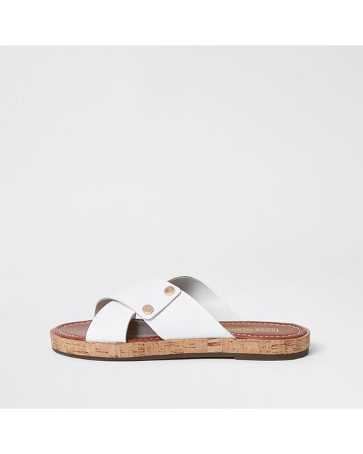 9480dc9d237 River Island - White Leather Cross Strap Mules - Lyst ...