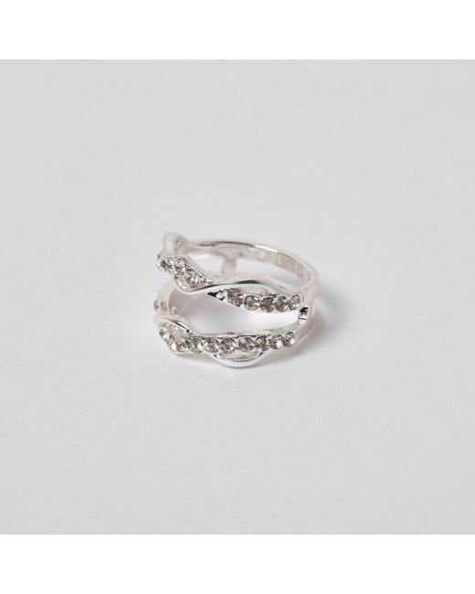 River Island | Metallic Silver Tone Diamante Encrusted Twist Ring | Lyst