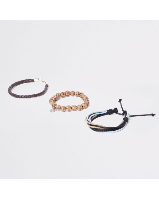 River Island - Brown Bead And Lattice Bracelet Pack for Men - Lyst