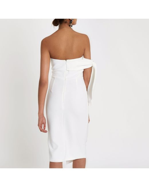 Wear Resistance Sale Professional Womens White tie sleeve button bandeau bodycon dress River Island 2018 Newest Online Cheap Buy Discount Perfect 3MtWbAYXj0