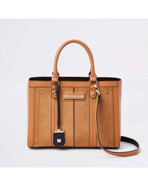 River Island - Natural Faux Leather Boxy Tote Bag - Lyst