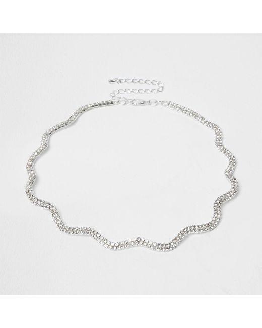 River Island | Metallic Plus Silver Tone Diamante Wavy Choker | Lyst