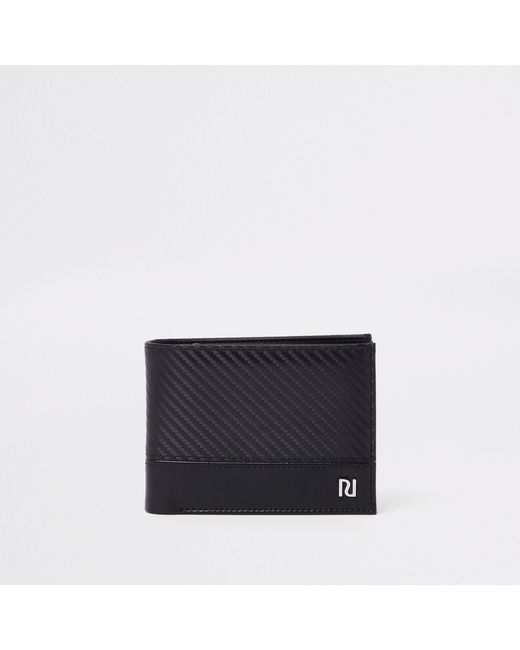River Island - Black Contrast Texture Wallet for Men - Lyst