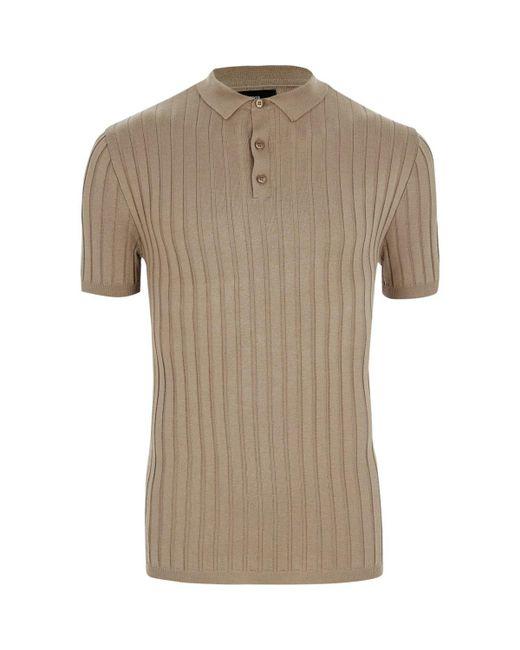 River island light brown rib knit muscle fit polo shirt for Light brown polo shirt