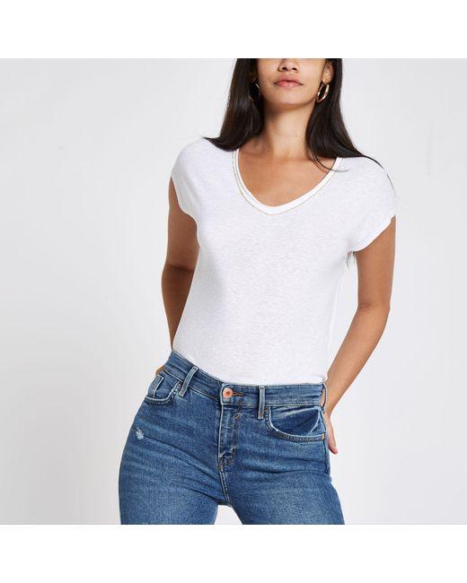 River Island - White Diamante Trim V Neck Slouch T-shirt - Lyst