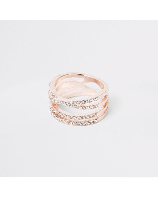 River Island - Metallic Rose Gold Tone Rhinestone Double Kiss Ring - Lyst