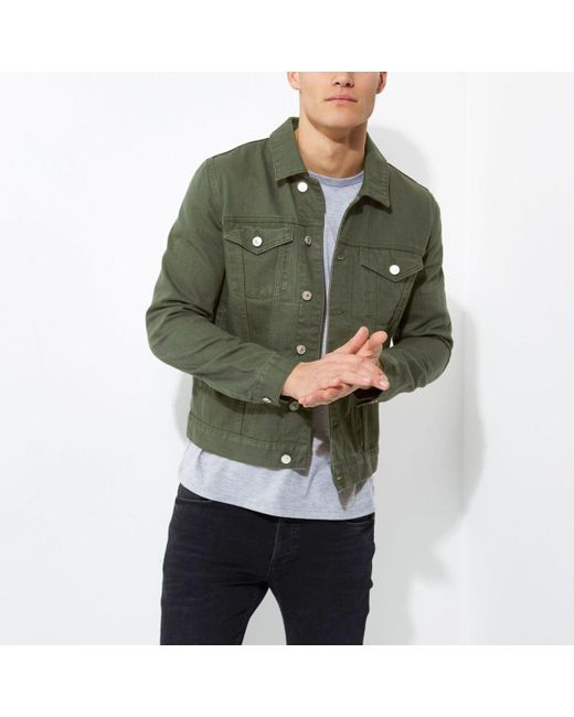 River island Big And Tall Dark Green Denim Jacket in Green for Men ...