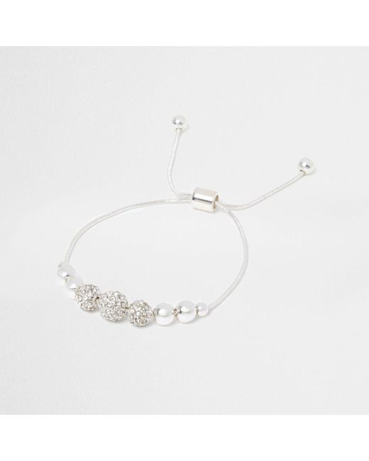 River Island | Metallic Silver Tone Diamante Bead Lariat Bracelet | Lyst
