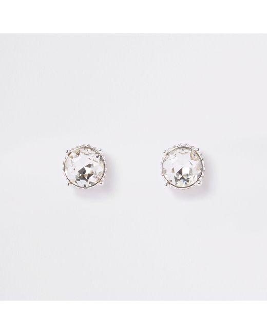 River Island - Metallic Tone Jewel Stud Earrings - Lyst