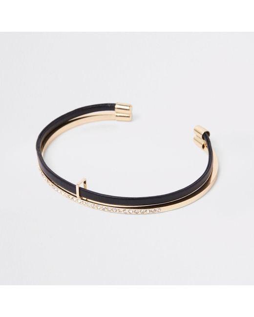 River Island - Metallic Tone Double Layered Cuff Bracelet - Lyst
