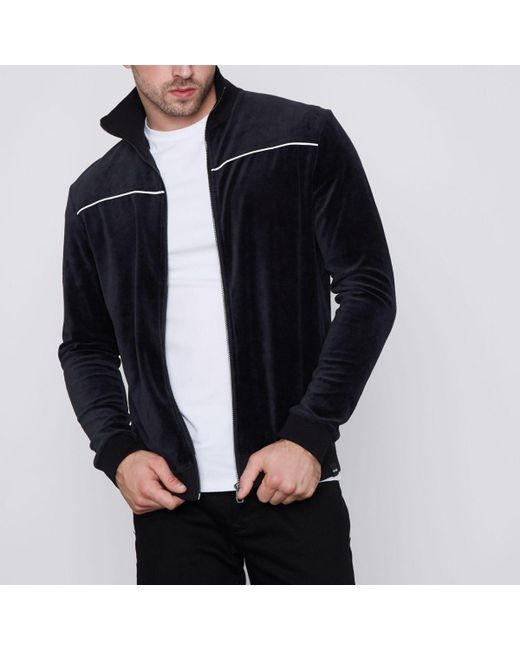 River Island   Blue Navy Only & Sons Velour Zip Up Jacket Navy Only & Sons Velour Zip Up Jacket for Men   Lyst