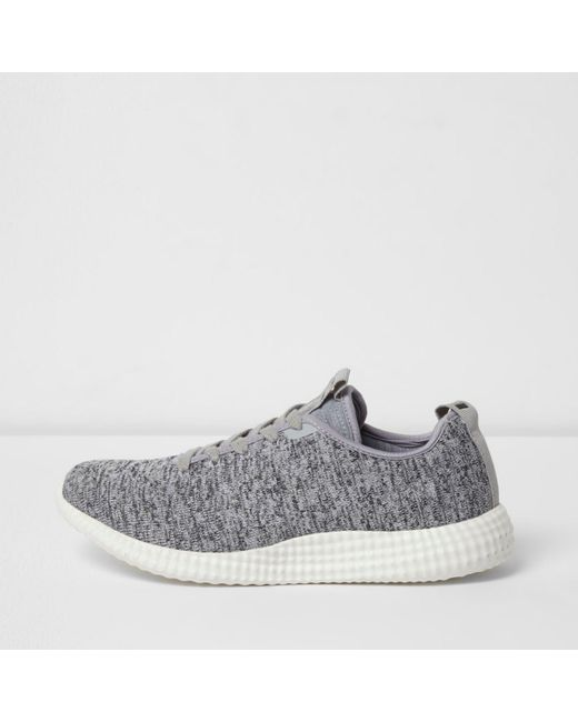 River Island | Gray Grey Knitted Lace-up Trainers Grey Knitted Lace-up Trainers | Lyst