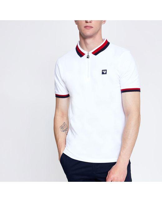 33f6e115 River Island Gola White Zip Polo Shirt in White for Men - Lyst