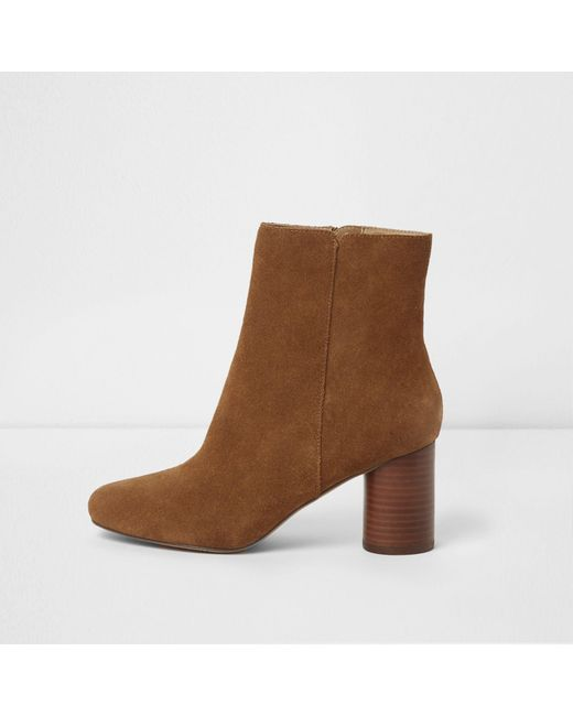 River Island - Tan Brown Block Heel Suede Boots - Lyst