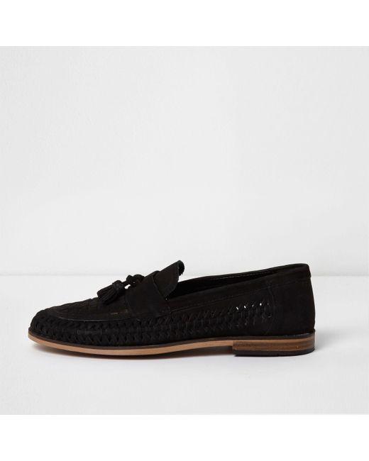 River Island - Black Suede Woven Tassel Loafers - Lyst