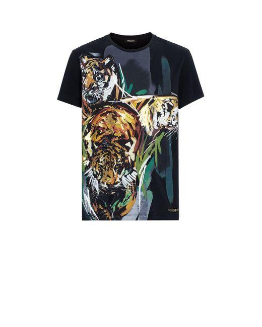 dfe4d5e1f Roberto Cavalli - Black Tiger Print T-shirt for Men - Lyst ...