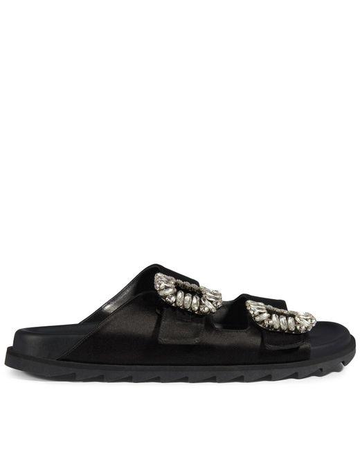 Roger Vivier - Black Slidy Viv' Strass Buckle Sandals In Silk Satin - Lyst
