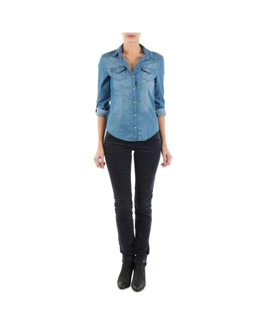 Esprit | Blue High Skin Cord Trousers | Lyst