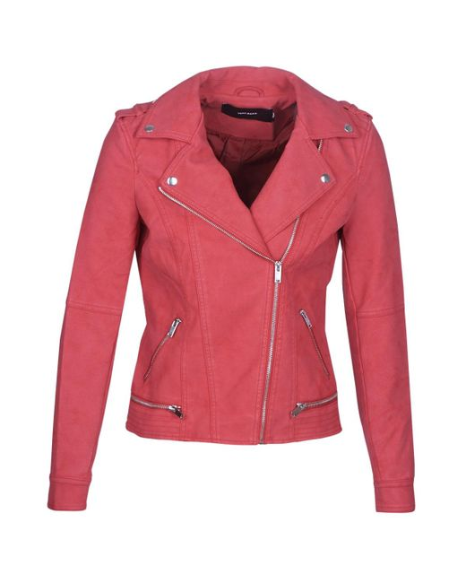 Vero Moda Red Vmworld Leather Jacket