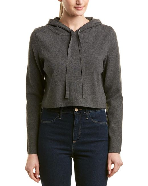 MILLY Gray Cropped Wool-blend Sweater